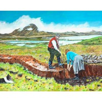 Print - Cutting The Peat by Dinnes McArthur