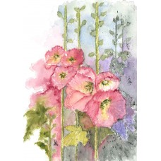 Card - Hollyhocks by Nancy Aitken